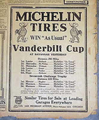 """1911 Newspaper Ad - Michelin Tires """"Win As Usual"""" Vanderbilt Cup"""
