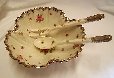 Crown Ducal Porcelain Bowl & Servers Pink Roses England Exc Con