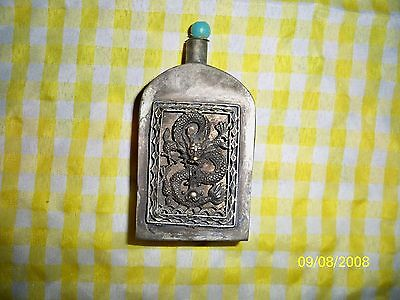 Antique Sterling Silver snuff box, Dragon and Jewel on spoon handle, turqoiuse
