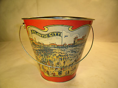 Vintage Look ATLANTIC CITY  Beach Sand Pail Bucket Toy -Great Vtg. Litho Graphs