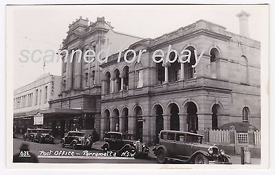 Parramatta, Nsw, Australia - Post Office / Parked Vintage Cars - Vintage Rppc
