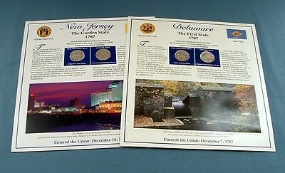 New Jersey & Delaware State Quarters With Postage Stamps & Story Cards