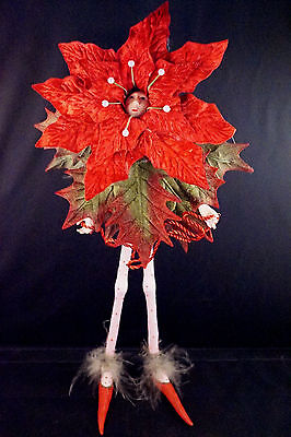 "2002 Patience Brewster 13"" Red Christmas Krinkle Poinsettia Fairy w. Hang-Tag"
