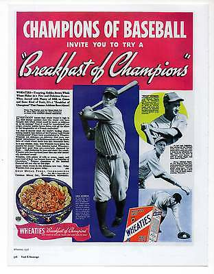 """LOU GEHRIG WHEATIES AD, Repro 1930's Advertisement Art For Framing, 7.75"""" x 10"""""""