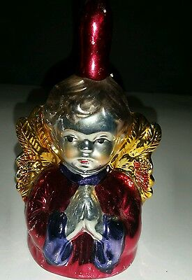 ANGEL BELL w/ CLAPPER Painted Mercury GLASS-STYLE Choir Christmas HOLIDAY 5.5""