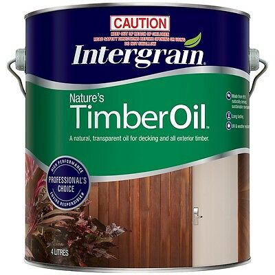 INTERGRAIN 4 LITRE NATURES  TIMBER OIL FOR DECKING AND EXT WOOD MERBAU colour