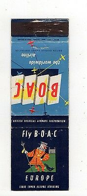 Fly BOAC Airline Europe Vintage Matchbook Cover Aug16