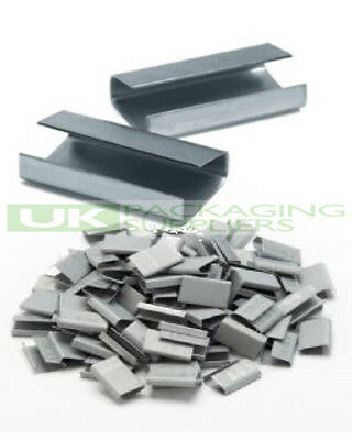 1000 x METAL SEALS CLIPS FOR HAND PALLET STRAPPING BANDING 12MM X 25MM SEMI OPEN