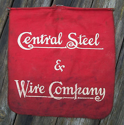 Vintage Central Steel & Wire Company Advertising Store Sign/Workplace Red Cloth