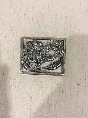 Sterling Silver 925 Vintage ART DECO Celtic Flowers Square Pin/Brooch