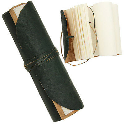 Medieval Crushed Leather Folded Pocket Journal Note Writing Book Diary Green