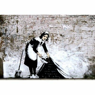 "BANKSY POSTER ""SWEEEPING UNDER WALL""   BRAND NEW ""SIZE A2"" 42cm X 59.4cm"