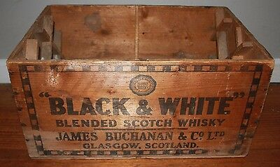 Vintage Black & White Scotch Whisky Wooden Collectable Shipping Crate Box