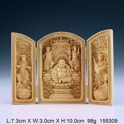 Oriental Vintage Handwork Carved Boxwood Buddha Statue China Calligraphy Sutra