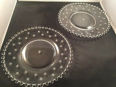 Set of 2  Imperial Candlewick Starlite  Etched Crystal Plates. 8""