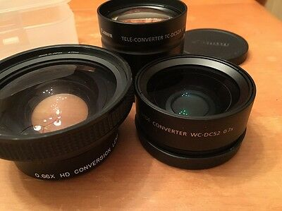 Canon and Raynox 52mm wide and tele converter lenses (3 total), Made in Japan