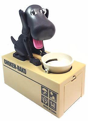 US Choken Puppy Hungry Dog Eating Coin Saving Box Piggy Bank Money Coin Black