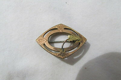 Antique Victorian Gold Fill Pin Diamond Shaped w/ flower & Applied Leaf S78