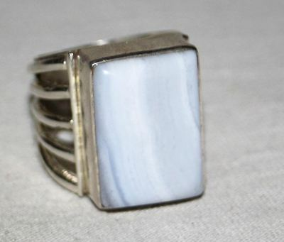 Vintage Solid Sterling Silver Men's Ring with Blue Lace Agate Gem - Size 9 3/4