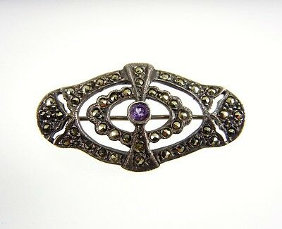 Vintage Art Deco Sterling Silver Marcasite Amethyst Brooch Pin