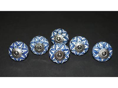 06 Knobs White and Blue Hand Painted Ceramic Pumpkin Knobs Cabinet Drawer Pulls