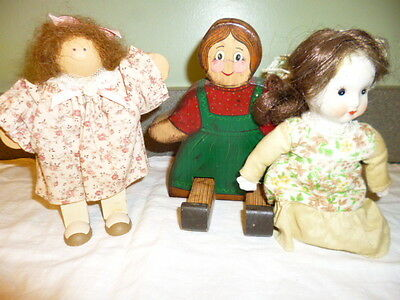 """LOT-3; Lizzie """"Jessica"""" High Doll+Vintage Wooden Painted & Porcelain Cloth Doll"""
