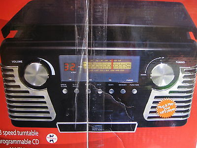 ELECTRO RETRO CHROME STYLE CD HOME STEREO SYSTEM W/TURNTABLE NEW/box  RETAIL $99