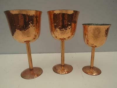 3 Vintage BERCZI Copper CUPS Goblets HAMMERED Finish AUSTRALIAN Made Adelaide