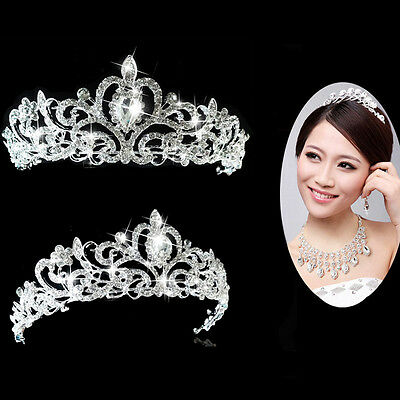 Princess Wedding Bridal Austrian Crystal Hair Accessory Tiara Crown Veil Silver