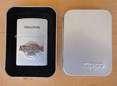 2003 UNFIRED ZIPPO LIGHTER Singapore Hard Rock Cafe  NOS NEW IN TIN BOX