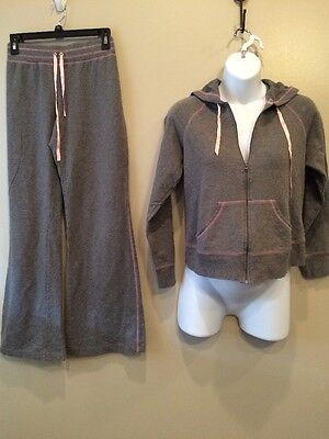 Motherhood Maternity Small Sweat Nursing Outfit With Hoodie Gray And Pink EUC