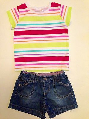 Girls Denim Shorts & T Shirt Age 3-4 M&S & New Dimensions