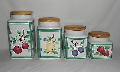 Lillian Vernon 4 Piece Canister Set – White and Green with Fruit