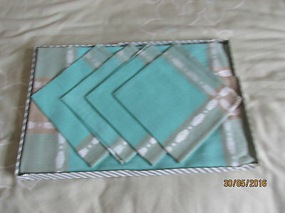 Table Cloth & Napkins Set - Boxed -New- Turquoise
