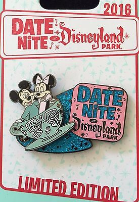 Disney Pin Date Nite At Disneyland Park Mickey & Minnie Mouse Teacups Le Limited