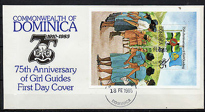 Dominica Stamps 1985 75 Anniversary Of Girl Guides Official First Day Cover M/s