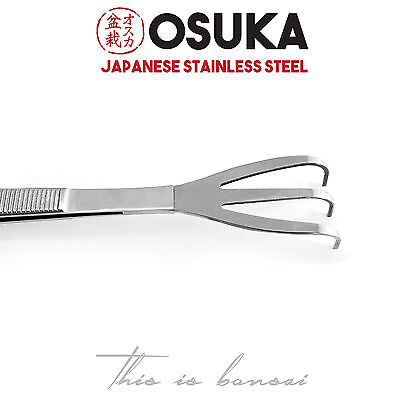 OSUKA Bonsai Root Rake with Tweezers 220mm – Japanese Stainless Steel