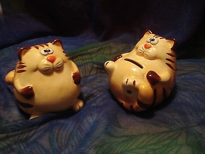 PAIR of Ceramic Fat Cat Kitty Yellow Orange Whimsical Money Coin Banks