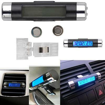 1x Car 2In1 Air Vent Clip-on Electronic Clock Time Thermometer LED Backlight A4