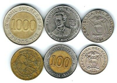 6 different world coins from ECUADOR some scarce