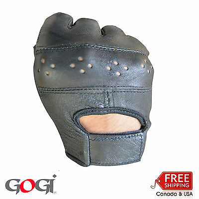 New Real Lamb Leather Half Finger Soft Finger less Cycling Driving Gloves Black