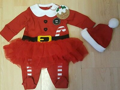 Bnwt next ❀ red santa christmas tutu babygrow sleepsuit & hat first size 7.8lb