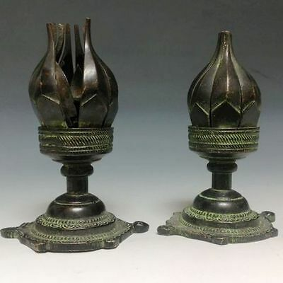 A Pair Rare Chinese Bronze Statue--Lotus sets