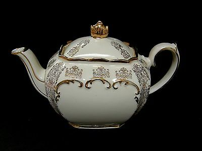 VINTAGE large Sadler cube shaped cream and gold teapot ~ pristine condition