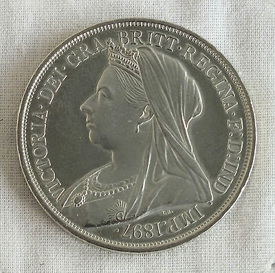 Wales 1897 Queen Victoria Nickel Silver Proof Pattern Crown