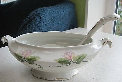Lovely Vintage Sauce Tureen And Ladle c1900 Wood & Son Floral Tableware