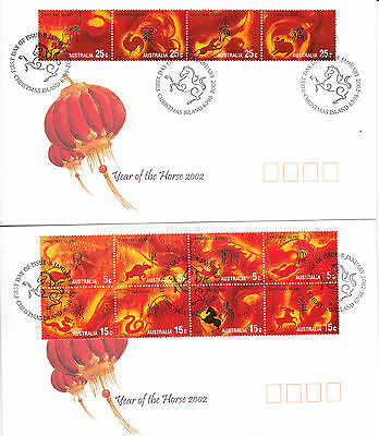 Christmas Island  2002 Year of HORSE set 12 stamps on pair  First Day covers