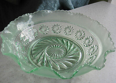 """Lovely Vintage Green Glass Fruit Trifle Bowl 8"""""""