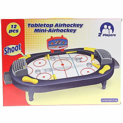 Table Top Mini Air Hockey Kids Childrens Family Game 12 Piece Playset Toy Set