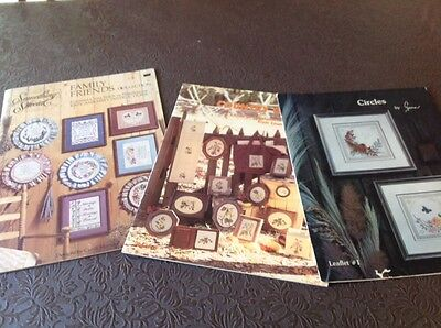 Three Cross Stitch Books - Family Friends Collection,Country Garden & Circles